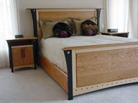 Queen Sized Bed and Nightstands Image