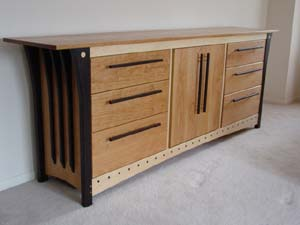 Six Drawer Dresser with Center Cabinet Image